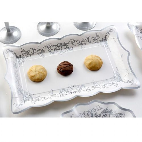 Imperial Silver Tray Card 30 x 18 cm 4's Disposable Party Tableware